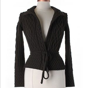Banana Republic brown belted wool cardigan small
